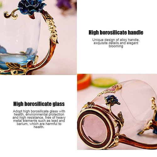 370/320ml Creative Classical 3D Rose Butterfly Carved Enamel Crystal Glass Cups Heat-resistant TeacupLuxury Wedding Gift