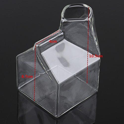 1 piece 250ML Half Pint Milk Carton Style Creative Mini Creamer Jug Glass Milk Mug