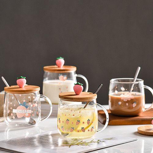 Strawberry glass mug 3D Lid Cartoon Strawberry Cute mug transparent breakfast coffee milk Mug Drinking Glasses Drinkware Cup