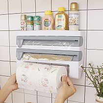 Kitchen Cling Film Cutting Holder Tin Foil Paper Cutting Storage Rack Wrap Cutter Wall Paper Towel Holder Plastic Hang Holder