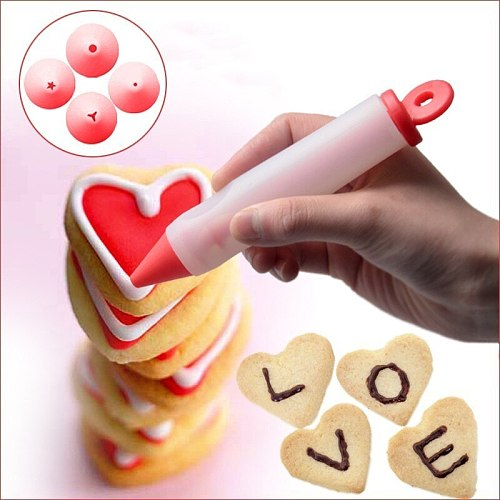 4Nozzle Cake Decorating Flower Pen Chocolate Cream Jam Squeezed Gun Syringe Pastry Cookie Painting Writing Baking Tool Silicone