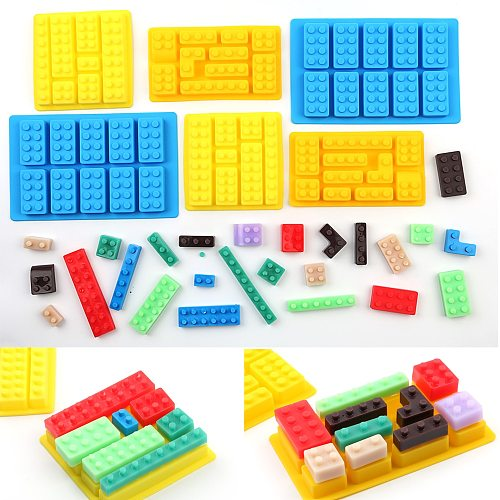 Silicone  Building Blocks 3D DIY Mold Chocolate Tray Jello Brownie Dessert Pastries Mould Cake Decoration Tool 1 Piece