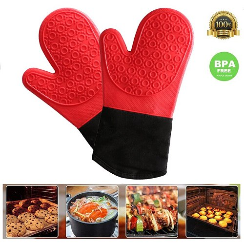 Dotted Non-Slip Silicone Baking Gloves Oven Mitt Heat Resistant Waterproof Kitchen Gloves Cotton Lining Cooking Bbq Oven Sleeves