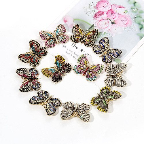WEIMANJINGDIAN Multi-Color Pave Setting Crystal Rhinestones Butterfly Brooch Pins for Women in Assorted