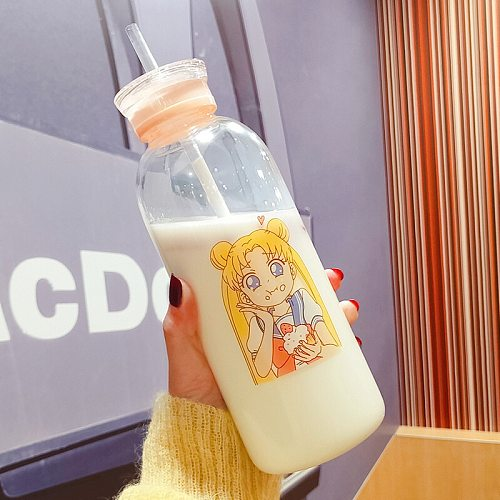 Sailor Moon Silicone Glass Bottles Kawaii Water Bottle Eco Friendly Glass with a Straw Glasses Cute Cups Waterbottle Me Bottle