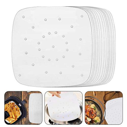 100 Sheets Baking Oil Paper With Hole Air Fryer Square Baking Paper Bun Cake Paper Saucer Baking Accessories Baking Kitchen Tool