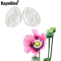Poppy Flower Fondant Cake Decorating Tools Making Peony Floral Petal Leaf Veiner Silicone Mold Kitchen Accessories M2181