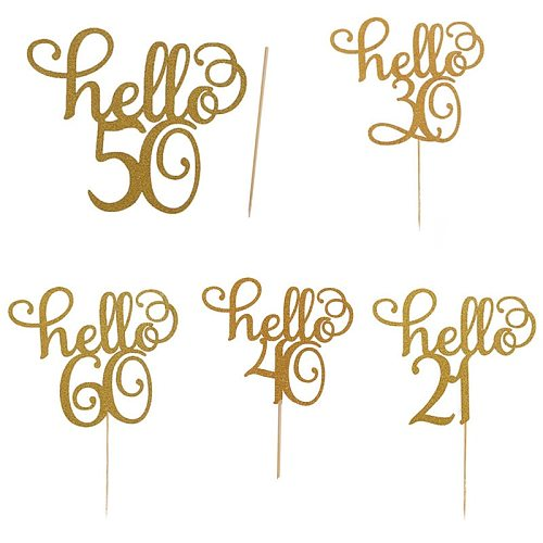 Hello 21/30/40/50/60 Years Old Cake Decoration Card Happy Birthday Cake Topper Creative Dessert Party Decorations