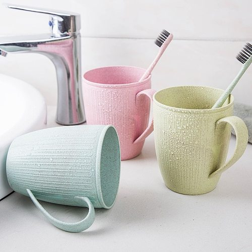 Wheat Straw Wash Cup Household Bathroom Toothbrush Holder Multi-color Choice Practical Classic Style Cylindrical