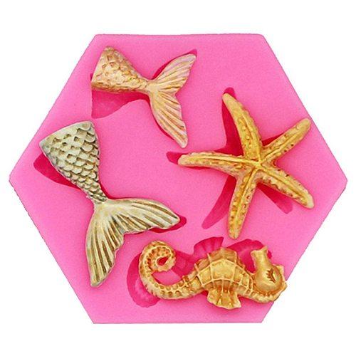 Mini Mermaid Tail Starfish Silicone Mold Fondant Chocolate Cake Decorating Tool DIY Handmade Clay Resin Soap Baking Mould Tool