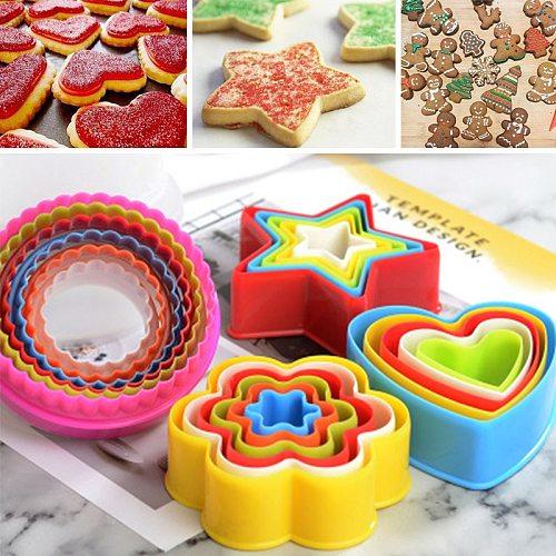 5pcs Cute Biscuit Mold Geometric Figure Biscuit Fudge DIY Cake Kitchen Cooking Mold Baking Pan Tools