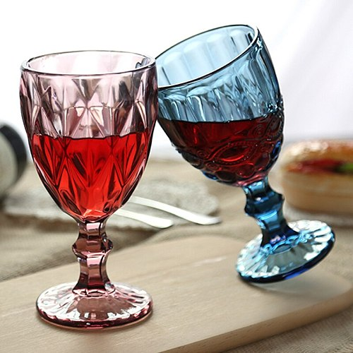 Wine Glass Cups Retro Vintage Relief Red Wine Cup 300ml Engraving Embossment Juice Drinking Glasses Champagne Assorted Goblets
