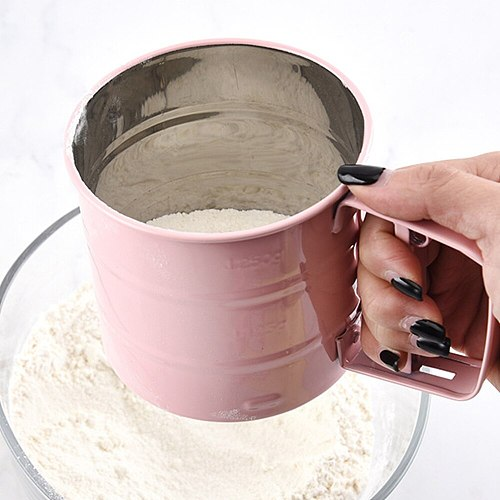 Powder Flour Sifter Handheld Manual Flour Powder Icing Sugar Sifter Cup Stainless Steel Hand Blender Mesh Sieve Cup Kitchen Tool