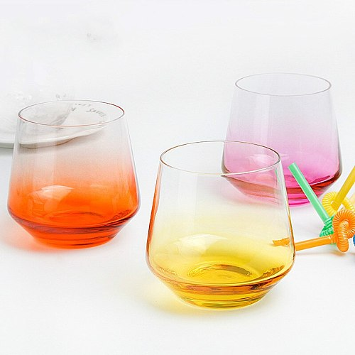 Glass Cup Household Water Glass Milk Glass Bottle Creative Colorful  Whiskey Glass Wine Gift  Beer  Steins Glass Wine Tumbler