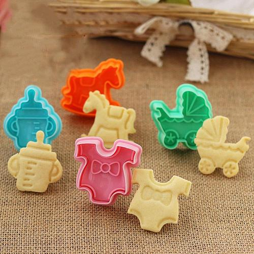 4pcs/Set 3D Baby Clothes Shower Hand Press Stamp Biscuit Cake Cookie Bakeware Mould Fondant Cookie Cutters Biscuit Mold Kitchen