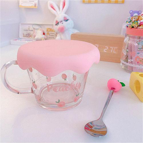 Cute Strawberry Peach Holding Cup Glass Bowl Breakfast Cereal Student Girl Milk Coffee Oatmeal Heat Resistant Kawaii Mug