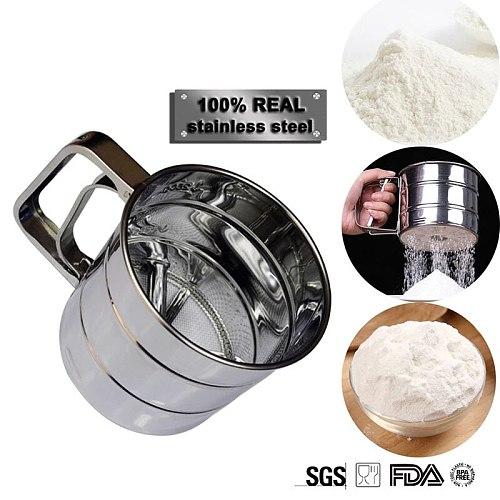 Handheld Flour Shaker Flour Sifter Fine Mesh Powder Flour Sieve Icing Sugar Manual Sieve Cup Kitchen Gadget Baking Pastry Tools