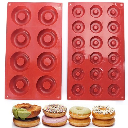 8/18-Cavity Silicone Fondant Cake Chocolate Mold Baking Pan DIY Donut Shape Muffin Cookie Moulds Pastry Decorating Tools