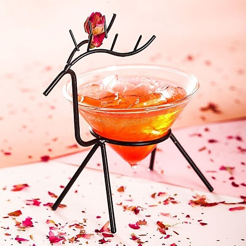 Nordic Creative Iron Art Elk Holder Special Drinking Molecular Cocktail Cup Party Bar Wedding Champagne Coupe Wine Martini Glass
