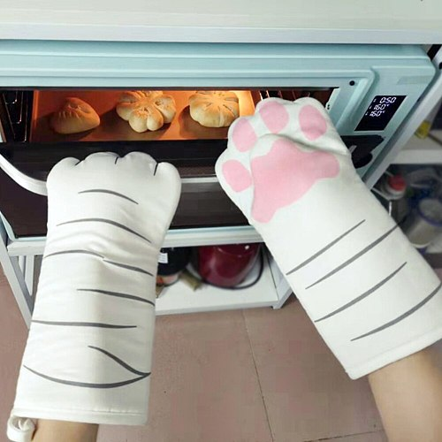 3D Cat Paw Oven Mitts Long Sleeve Microwave Insulation Cotton Glove Heat Resistant Cartoon Animal Gloves Kitchen Baking Tool