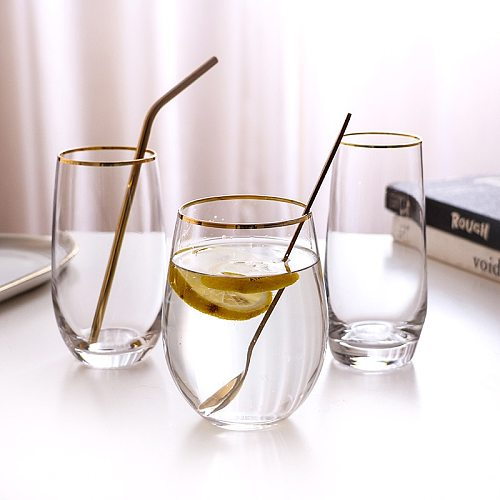 Brief Gold Edge Egg Shape Crystal Glass Cup Tranparent Lead Free Lemonade Juice Cup Insulated Smooth Milk Coffee Mug Water Cup