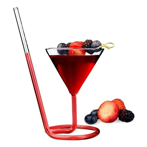 Party Drinkware Glass Creative Spiral Wine Cocktail Glass Cup Mixing Cup With Long Straw Champagne Flutes KTV Bar Juice Cups