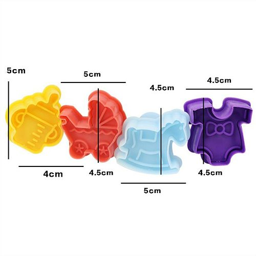 4Pcs Baby Stroller Trojan Bottle Cookies Mold Cutter Biscuit Stamp Gift Toast Mold Baby Shower Fondant Cake Decorating Tools