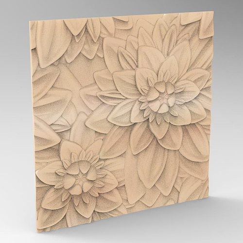 flower decor panel 3d model relief for cnc carving engraving in STL file format