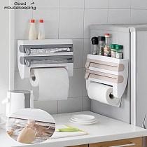 Kitchen Organizer Cling Film Sauce Bottle Storage Rack Tin Foil Paper Towel Holder Kitchen Shelf Hang Plastic Wrap Cutting