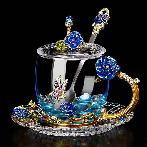 Creative Blue Rose Enamel Crystal Tea Cup Coffee Mug Butterfly Rose Painted Flower Water Cups Clear Glass with Spoon Set
