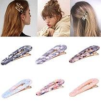 6pcs Acrylic Hollow Waterdrop Rectangle Hair Clips Tin Foil Sequins Hairpins Barrettes Headband Hair Accessories Women Girls