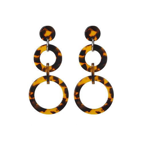 Multi Colorful Acetate Tortoise Shell Acrylic Circle Linked Dangle Earrings