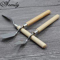 Aomily 2pcs/Set Stainless Steel Spatula Baking Pastry Tool Mixing Scraper Pack Art Scorper Oil Scraper Painting Shovel Palette