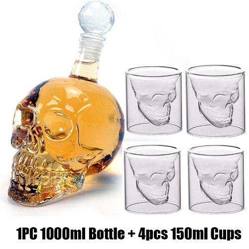 Glass Skull Head Bottle Cup Set 1000ml Crystal Glasses Decanter With 250ml 150ML Mug Wine Whiskey Shot Glasses Cups Set