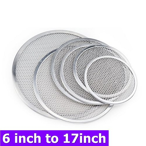 New Non stick Pizza Screen Pan Baking Tray Metal Net 6 inch to 17 inch Seamless Aluminum Metal Net Bakeware Kitchen Tools Pizza