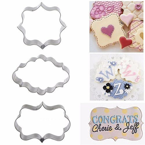 Sugar Biscuit Mold 3Pcs Plaque Cutter Cookies Frame DIY Cake Oval Square Rectangle Fancy Stainless Cookie Mold Stamp Pastry Tool