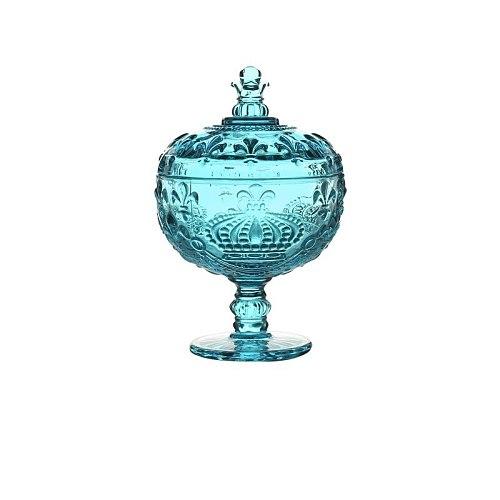 Retro crown tall dessert ice cream cup glass storage jar sugar bowl with lid household