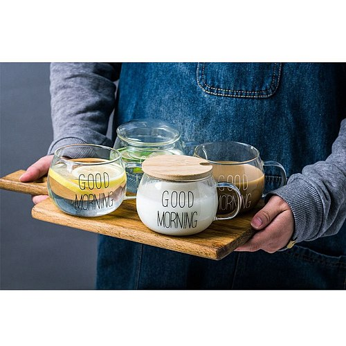 Heat-resistant Glass Cup Letter Printed Breakfast Cup With Handle Beer Espresso Coffee Cup Transparent Home Mugs Drinkware
