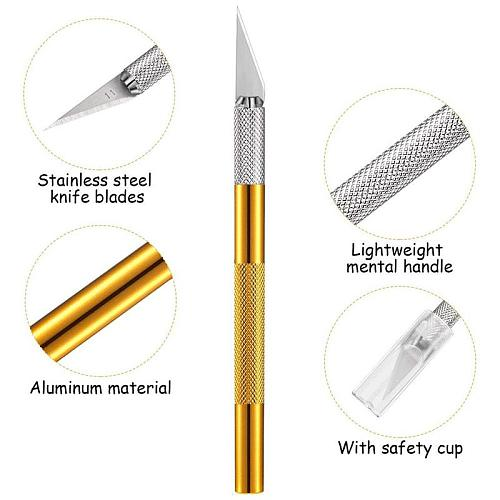 1PC Multi-color Metal Handle Non-Slip Knife With  Blade Scalpel Engraving Cutter Sculpture Carving Knife Pastry Cake Tools