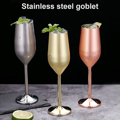 18oz Stainless Steel Wine Glass 220ml Champagne Cup Metal Cocktai Goblet for Bar Restaurant