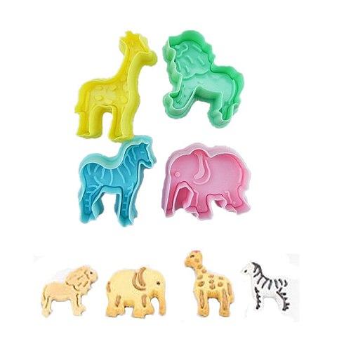 4Pcs Zoo Animal Shape Lion Giraffe Zebra Elephant Cookie Biscuit Plunger Cutters Mold Cake Decorating Baking Tools Sugarcraft
