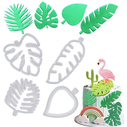 Polymer Clay Tools Tropical Leaf Cookie Cutter Hawaiian Palm Leaves Fondant Cake Cutting Set Plastic Pottery Mold Ceramic Tool