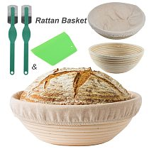 Round Natural Rattan Fermentation Basket Country Bread Baguette Dough Banneton Proofing Proving Baskets with Cloth Cover Bakery