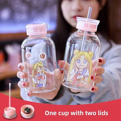 Sailor Moon Cute Water Bottle Silicone Glass Bottle with Straw for Girls Eco Friendly a Cup with a Straw My Bottle Kawaii cup
