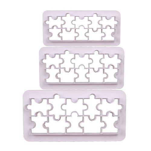 Aomily 3pcs/set Jigsaw Puzzle Mold Cake Cutter Sugar Craft Tiara Fondant Icing Cutting Cake Cookies Tool for Decoration Baking