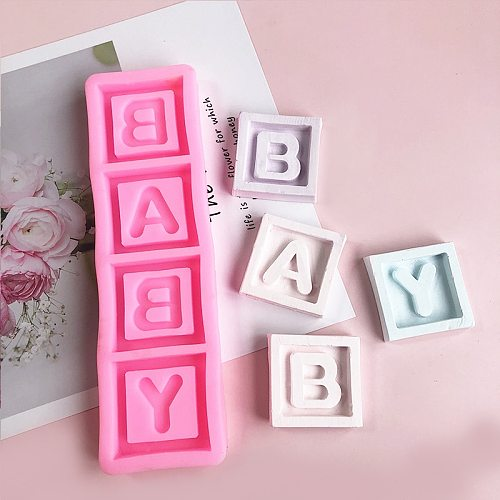 baby Square letter chocolate flip silicone mold cake decoration baking tool drop glue plaster moulds candle mold resin mold