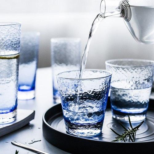Simple Vintage Glass Cup Blue Office Tea Cup Creative High Capacity Water Mug Matte Bicchieri Vetro Acqua Wine Glasses AC50BL