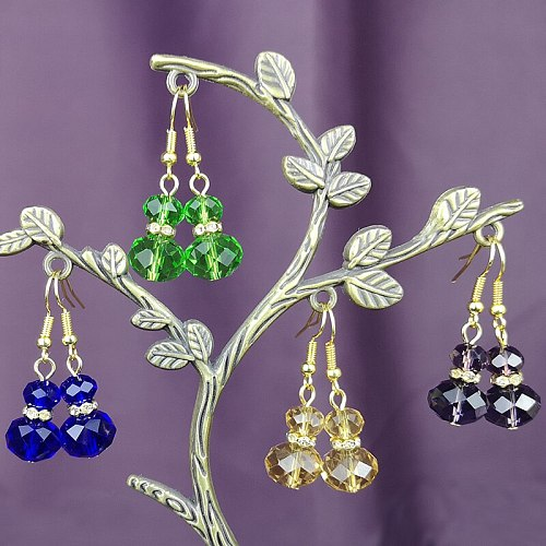 Fashion Jewelry Crystal Glass Beads Earrings Gold Silver Color Multi Colors Beaded Pendant Drop Earring for Girls Women