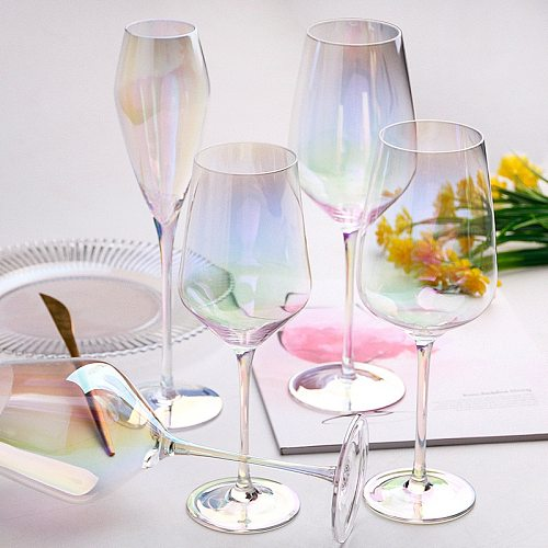Rainbow Plating Goblet Wine Glass Wedding Crystal Cocktail Glasses Champagne Flute Brandy Glass Stemless Egg Supplies Decanter