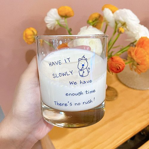 Household Heat-resistant Drinking Cups Milk Coffee Mousse Cup Ins Style Hand-painted Bear Glass Cup